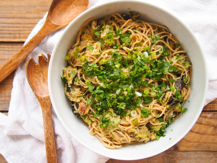 Spicy hummus pasta with eggplant uses a tub of hummus as an easy trick to make the sauce!