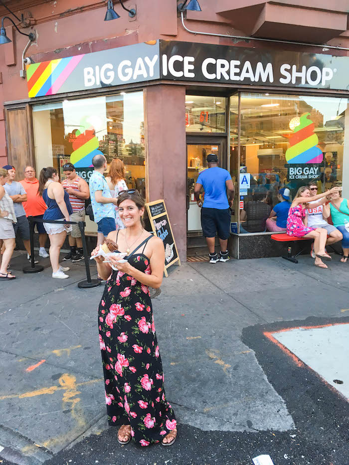 A cone of American Globs at Big Gay Ice Cream Shop
