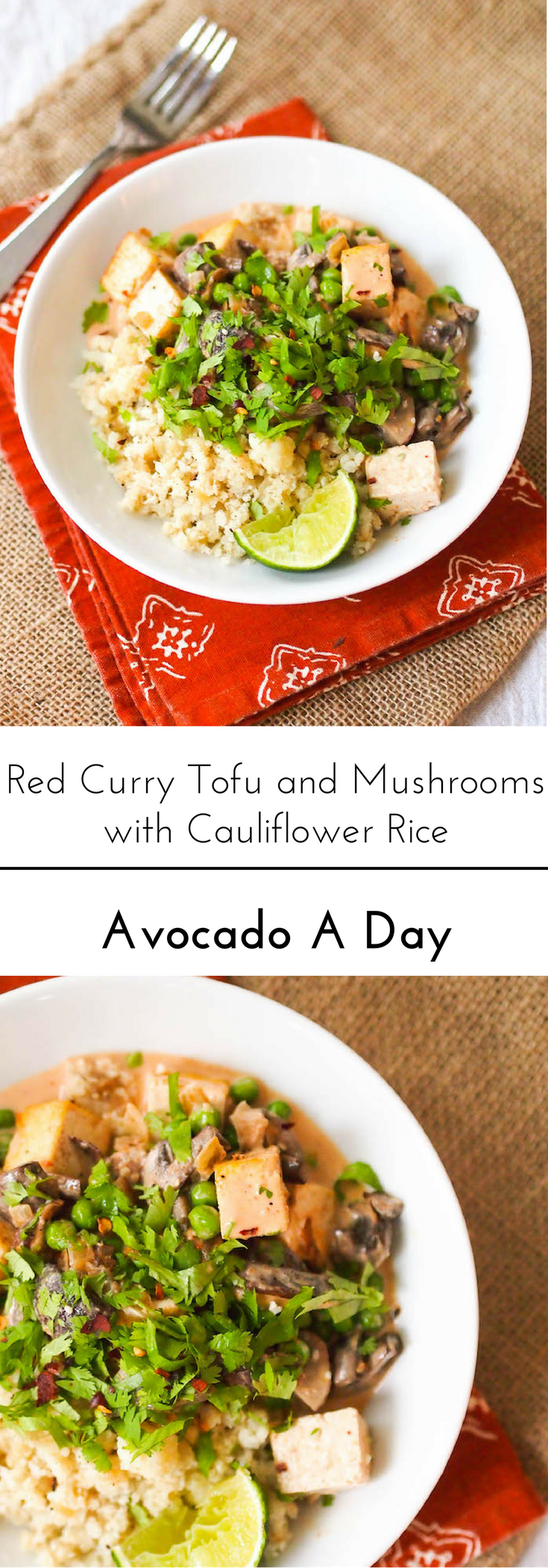 Serve this red curry tofu over cauliflower rice! Packed with veggies and gluten free!