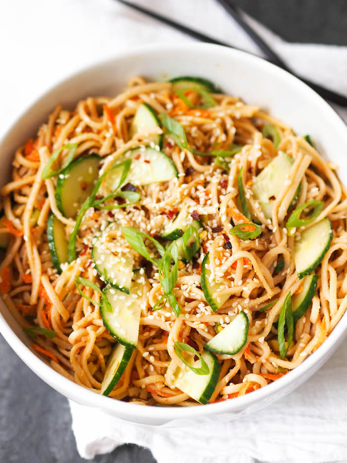 Sesame soba noodles with tahini sauce