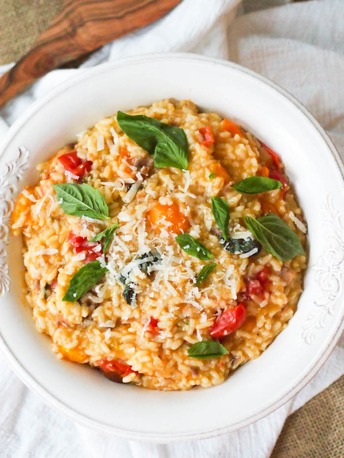 Creamy risotto packed with flavor from prosciutto, heirloom tomatoes and basil!