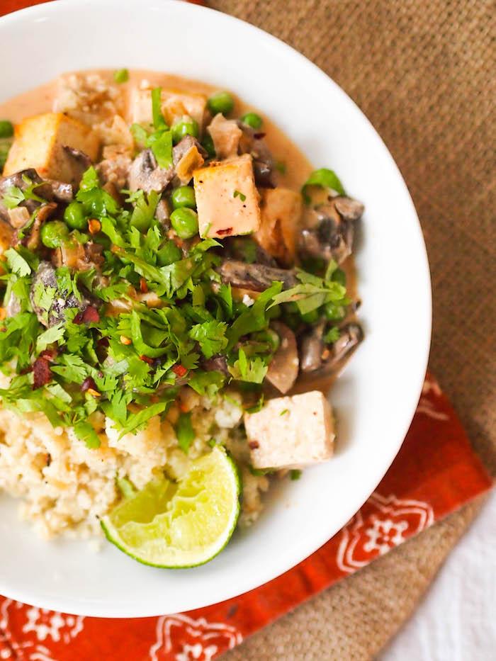 Vegan red curry tofu with mushrooms and cauliiflower rice