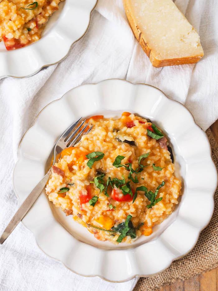 Italian tomato basil risotto with prosciutto!