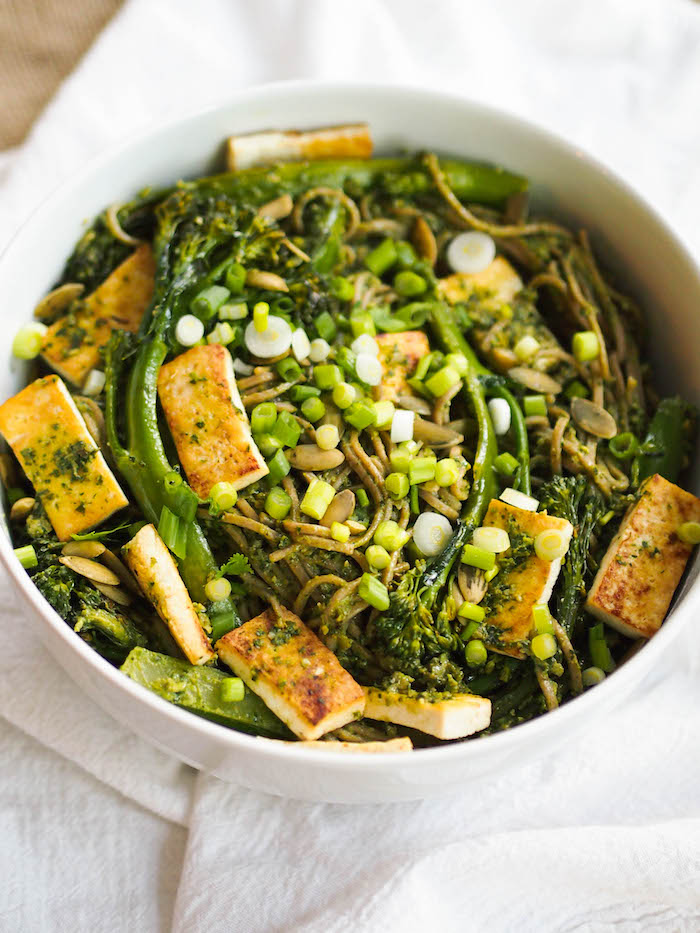 You'll fall in love with the cilantro pesto in this vegan soba noodle bowl with seared tofu and broccolini!