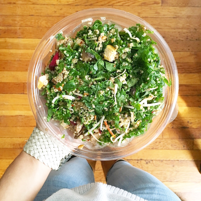 Shroomami salad with baked tofu, sauteed portobello mushrooms, quinoa, sprouts and miso-sesame dressing