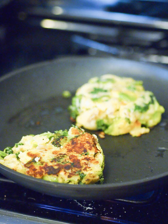 Making fall bubble and squeak, a European dish made from leftover mashed potatoes and vegetables