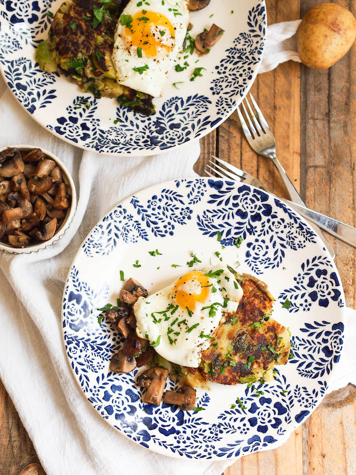Fall bubble and squeak topped with a fried egg and garlicky mushrooms! Gluten free and vegetarian too!