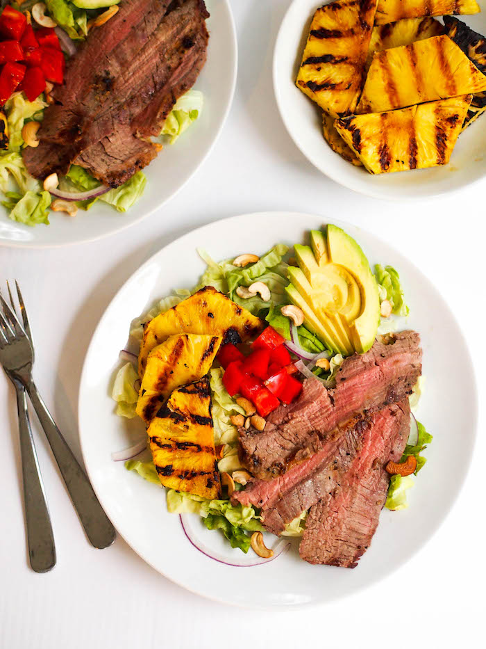 Asian grilled flank steak salad with grilled pineapple!