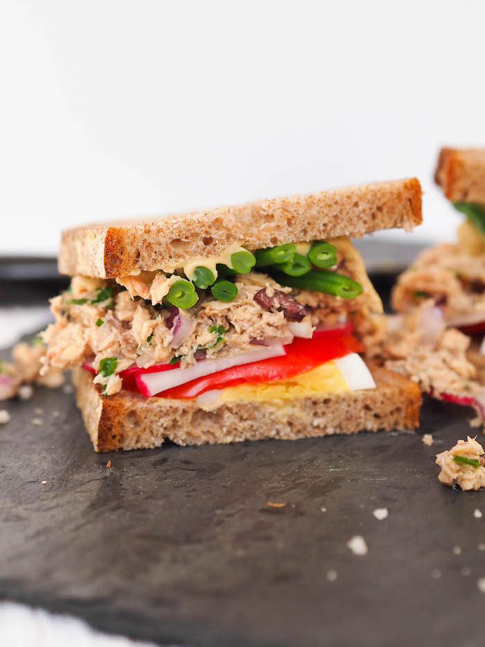 This salmon nicoise sandwich is a fun spin on the traditional French salad