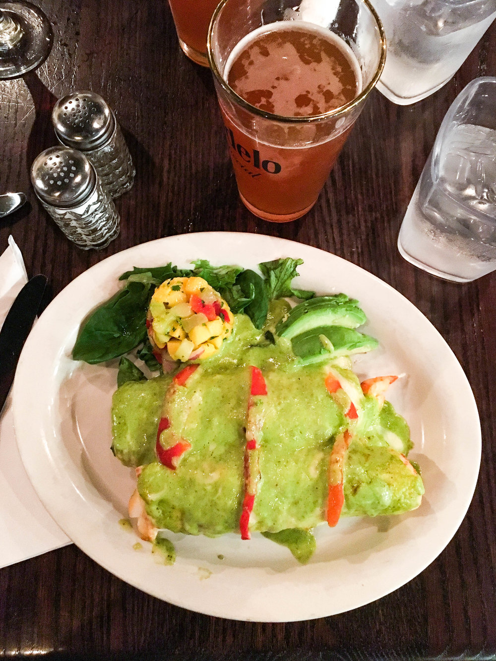Lobster enchiladas from Lucky Fish Deli in Highland Park