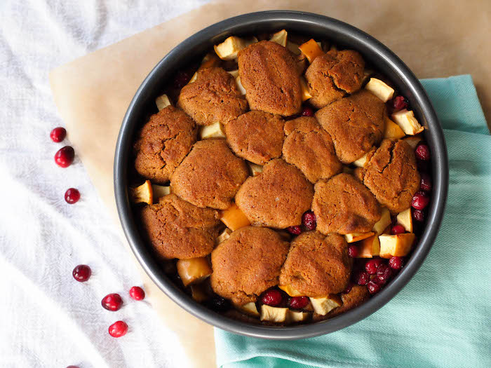 Cranberry apple cobbler cake for Thanksgiving!