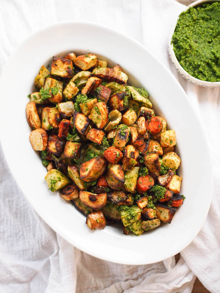 Roasted fall vegetables with kale hazelnut pesto