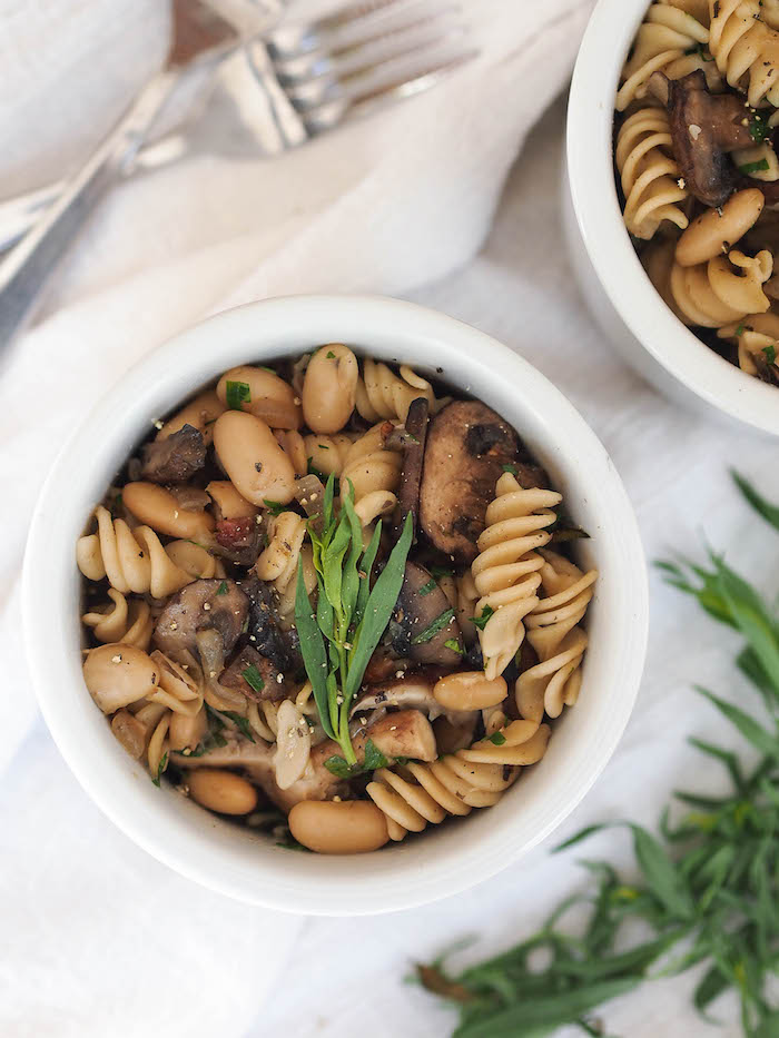 Simple white bean and mushroom pasta makes an easy weeknight meal!