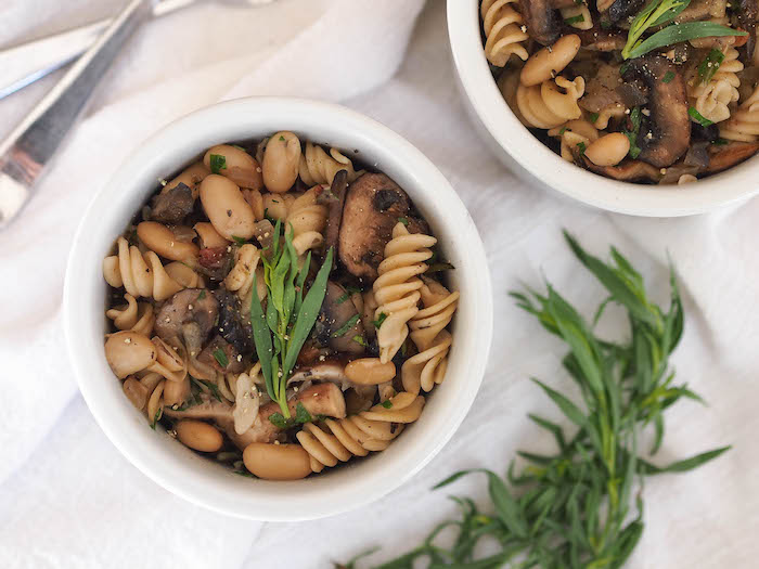 Lots of meaty flavor in this vegan mushroom and white bean pasta!