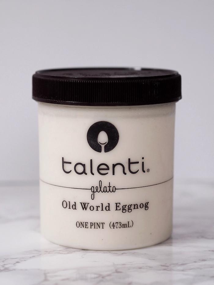 Eggnog ice cream for a hot chocolate ice cream float