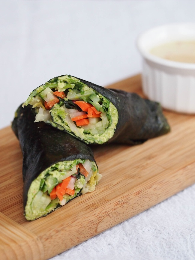 Nori Rolls with Edamame Spread and Sesame Dipping Sauce