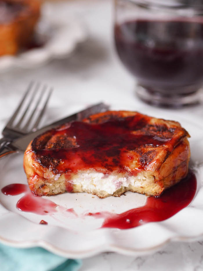 Ricotta stuffed french toast drizzled with a quick and easy homemade grape syrup!
