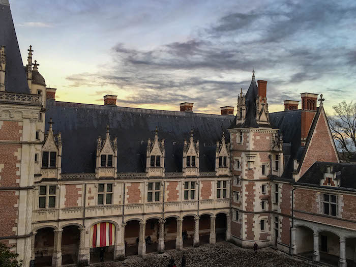 Sun setting over the courtyard in Chateau de Blois