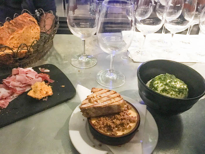 We went the meat and cheese route, as you should when in Paris. Charcuterie plate, goat cheese cake with parmesan crumble and pesto smothered burrata.