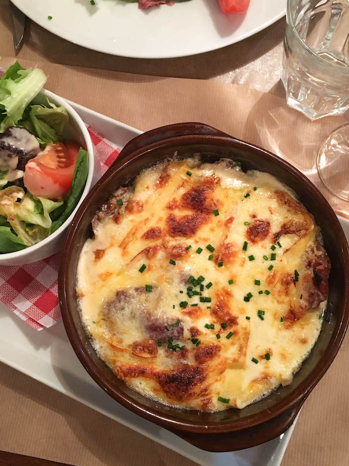 Cheese, ham and potato gratin plus gratuitous salad