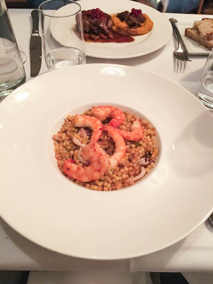 "Seafood ""paella"" made with acini di pepe"