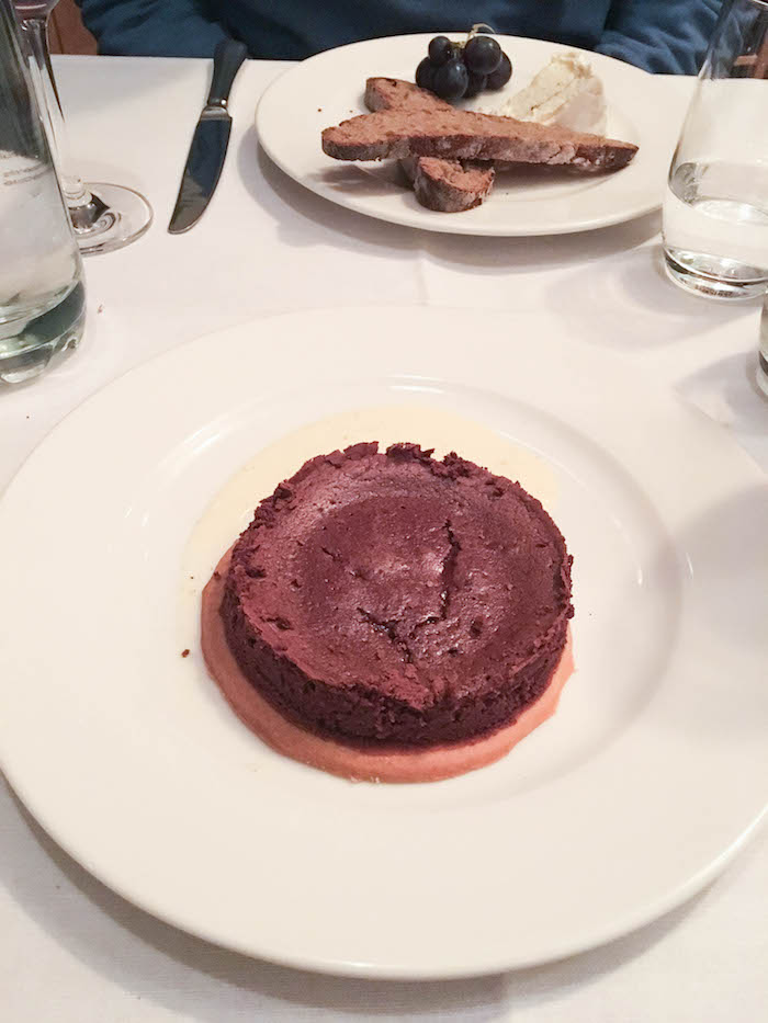 Amazing little flourless chocolate cake! Scott got truffle cheese and I stole approximately half of it.