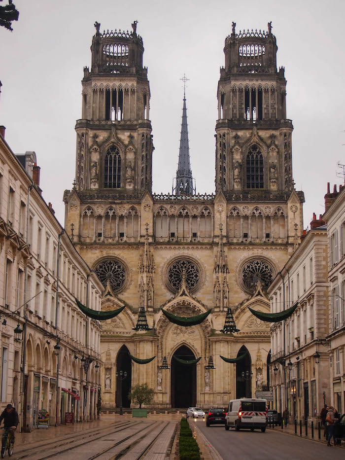 Orleans cathedral and Rue Jeanne d'Arc, all dressed up for Christmas