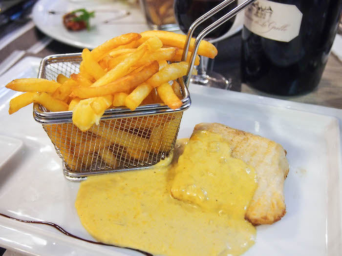 Sturgeon, which is big in the Loire, with a saffron sauce