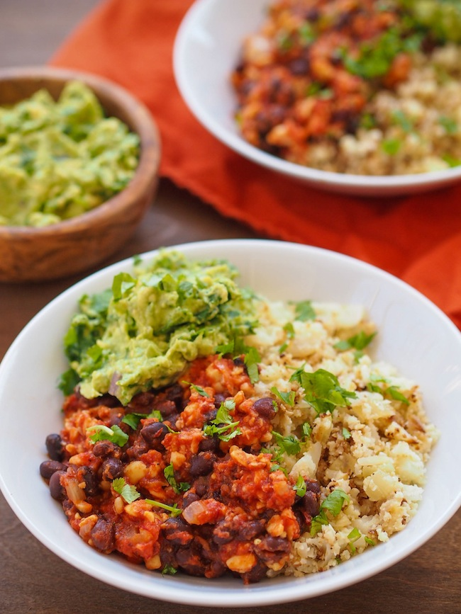 Chipotle Tempeh Bowl with Cauliflower Rice and Homemade Guacamole