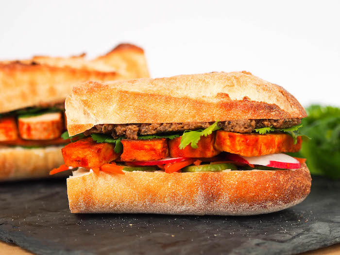 Tofu Banh Mi with Mushroom Pate and Pickled Vegetables