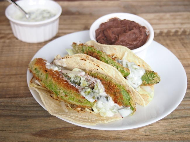 Fried Avocado Tacos with Creamy Jalapeno Sauce