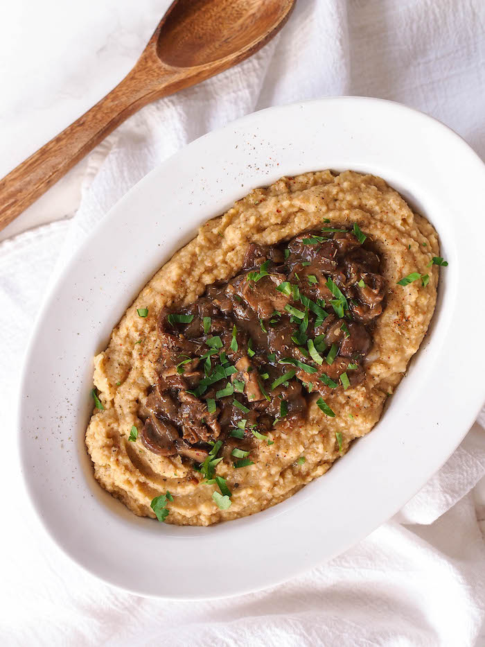 Vegan Chickpea Puree with Creamy Mushrooms