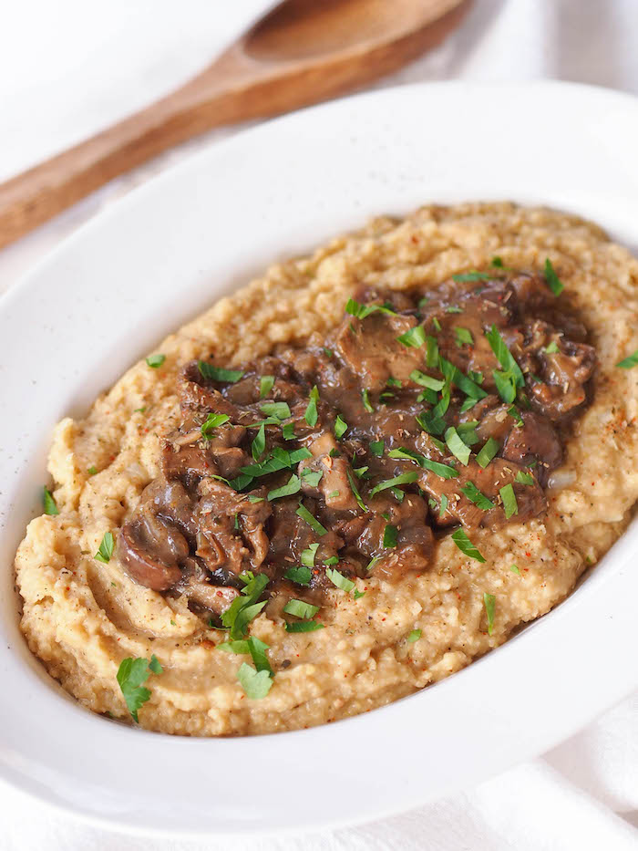 Gluten Free Chickpea Puree with Creamy Mushrooms