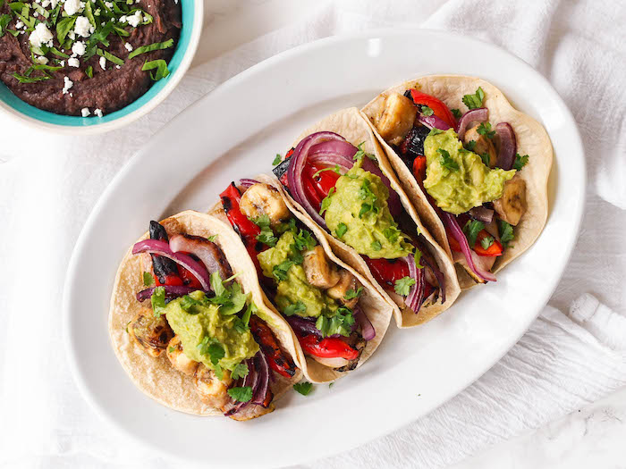 Cilantro Lime Chicken Tacos with Grilled Bananas