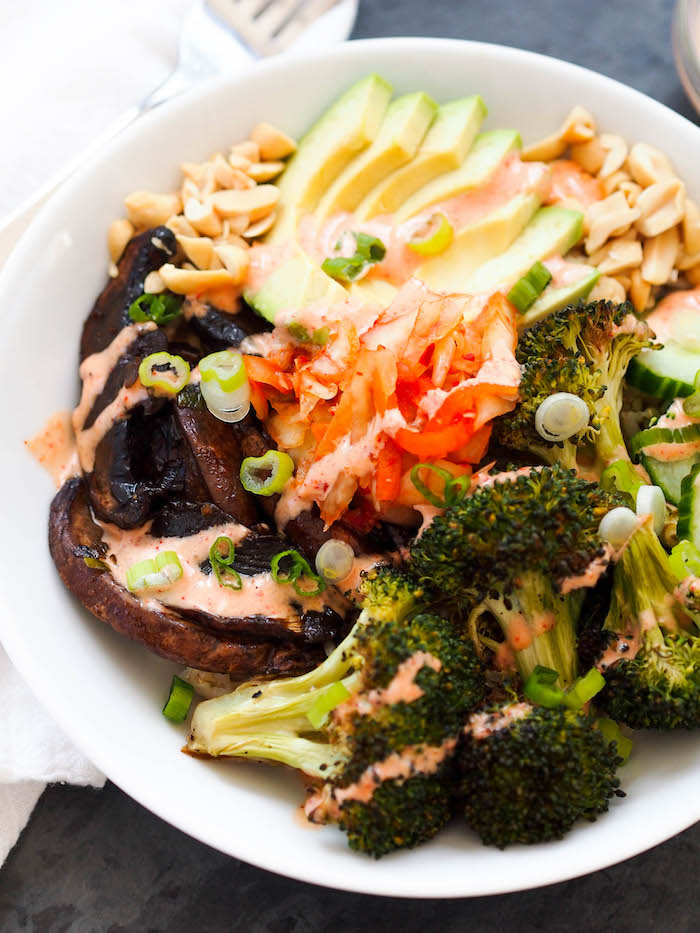 Vegan Portobello Mushroom Bulgogi Bowl with Sriracha Mayo