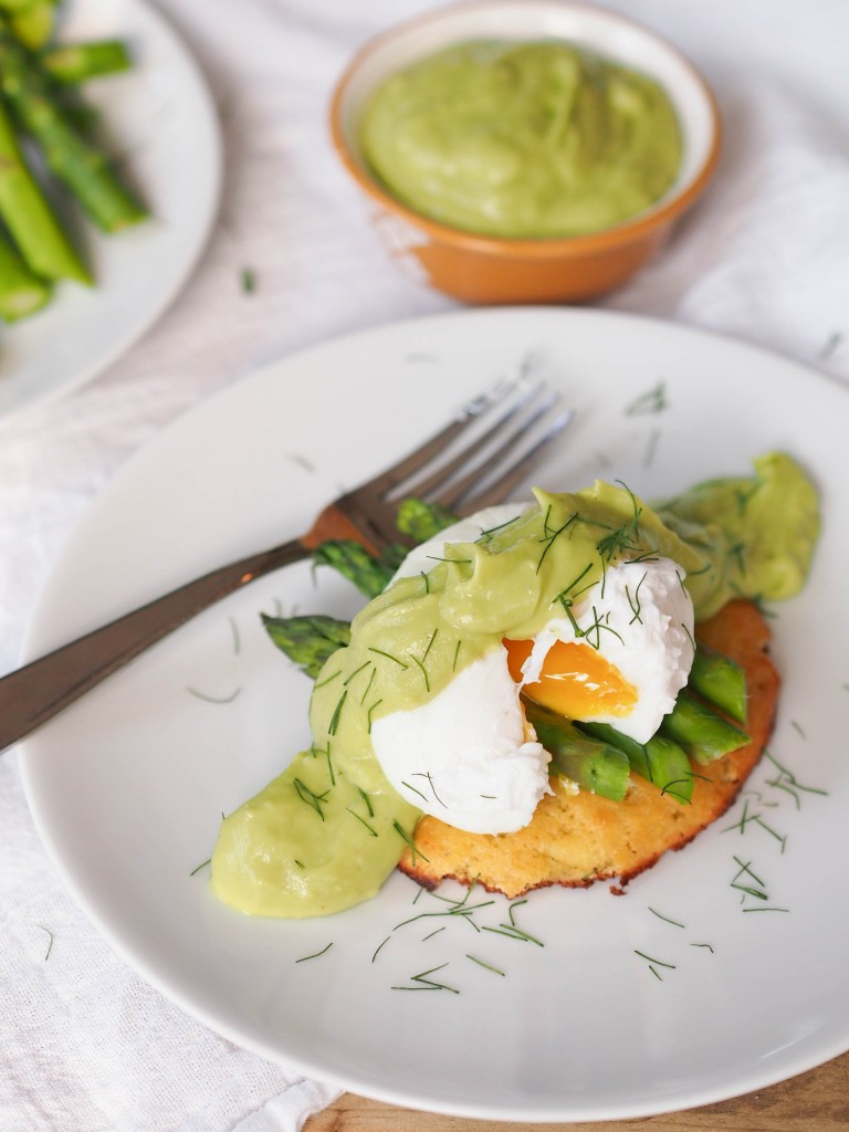Asparagus Eggs Benedict with Avocado Hollandaise and Grain Free Biscuits