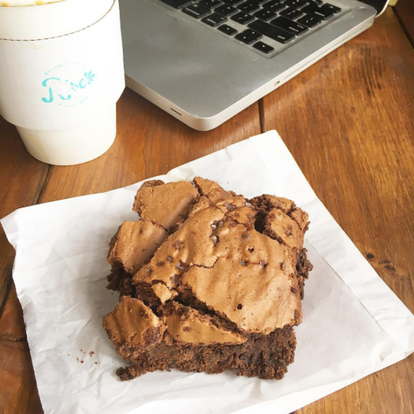 Needed some afternoon energy for the office so went with coffee and a salted espresso brownie.