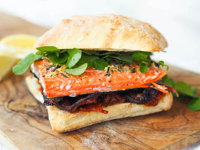 Salmon BLT with Red Wine Tomato Jam and Watercress