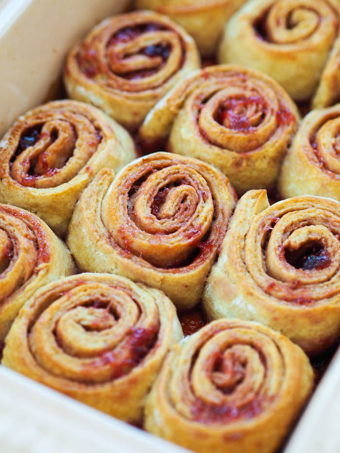 Whole Grain Strawberry Spiral Rolls