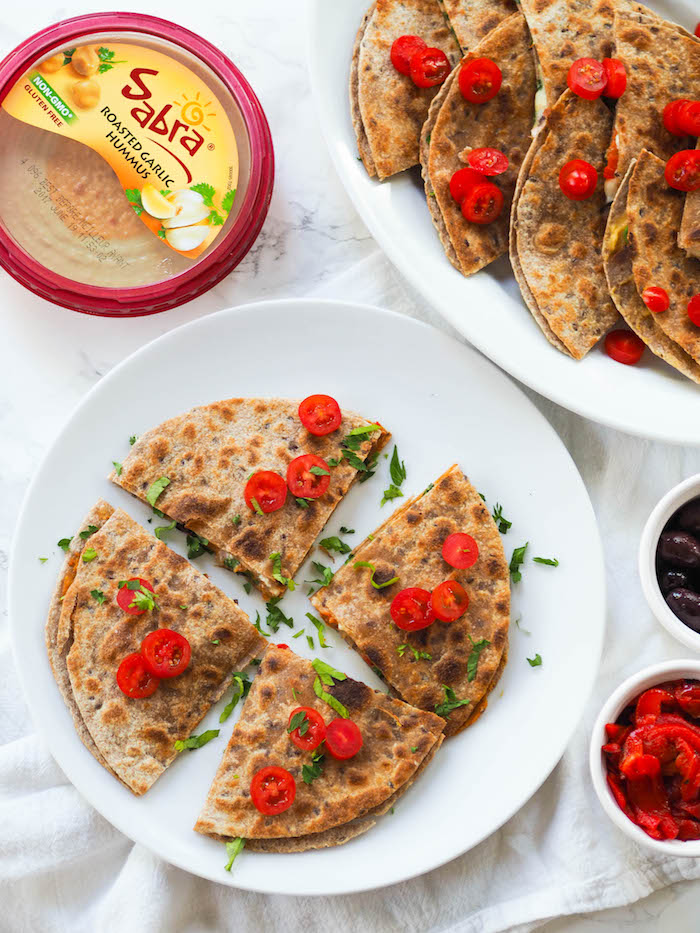 Mediterranean Quesadilla with Roasted Garlic Hummus
