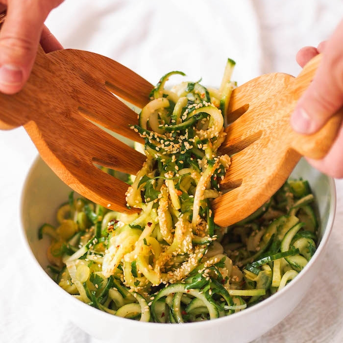 Spiralized Cucumber Salad with Soy-Sesame Dressing