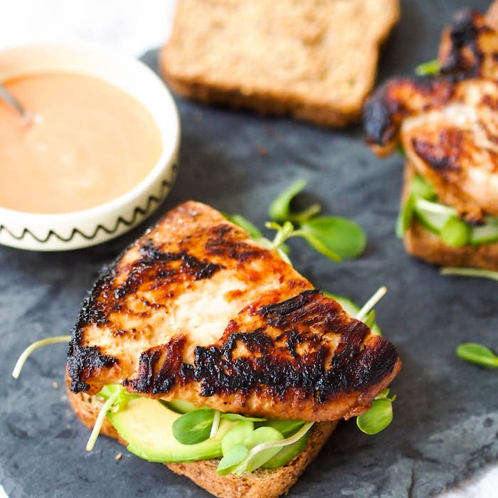Miso Grilled Chicken Sandwich with Sriracha Mayo