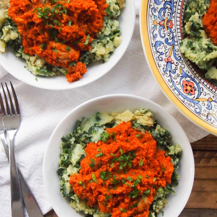 Romesco Chicken and Kale Mashed Potatoes