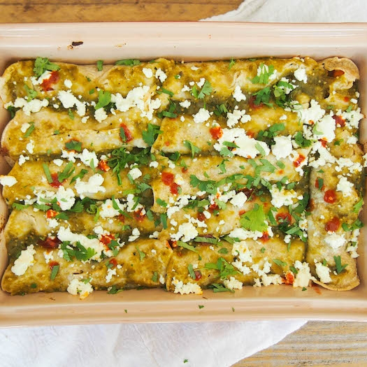 Breakfast Enchiladas with Sweet Potatoes and Eggs