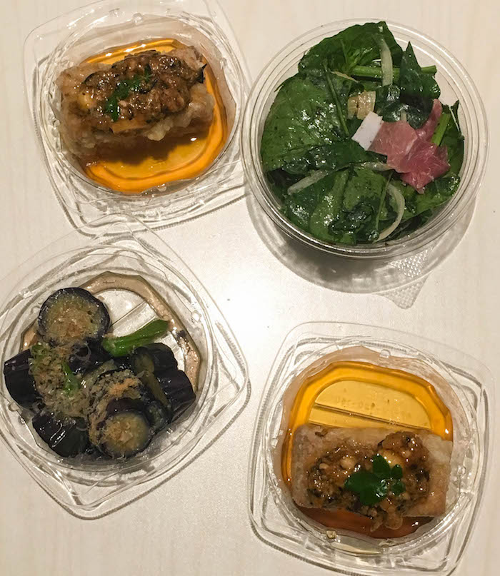 To go dinner from the food hall: pork and miso stuffed tofu, marinated eggplant, salad with prosciutto