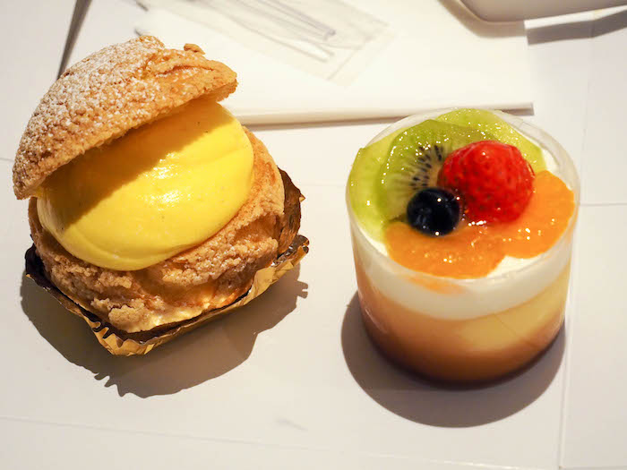 Can't forget dessert! Cream puff and caramel custard.