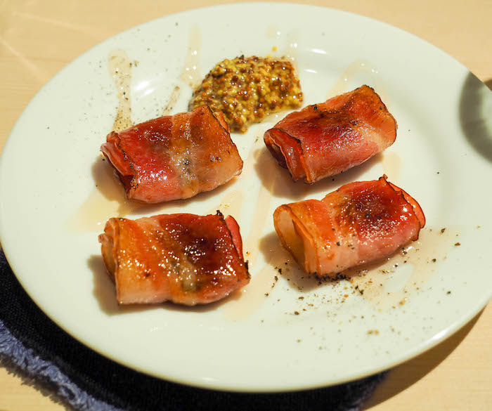 Bacon wrapped sake lees with honey and mustard