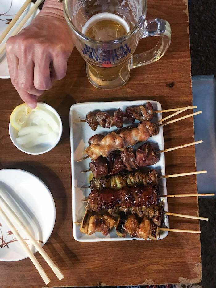Mixed chicken and pork yakitori