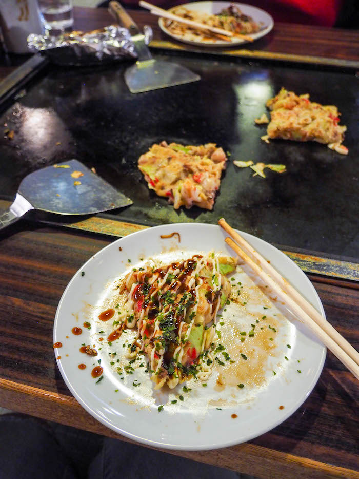 Okonomiyaki about to get devoured