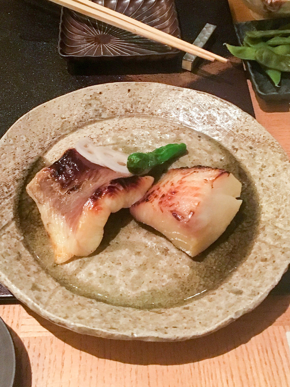 T  he miso soy sea bass was for sure the best thing we ate